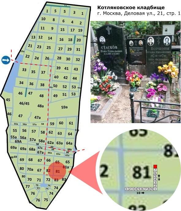 Схема Котляковского кладбища